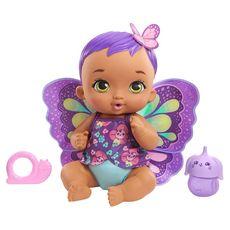 MATTEL My Garden Baby - Bébé Papillon Violet boit et fait pipi
