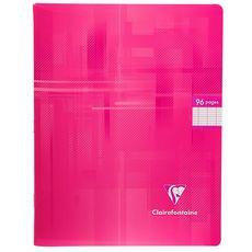 CLAIREFONTAINE Cahier piqué 17x22cm 96 pages grands carreaux Seyes rose