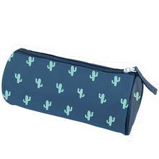 Trousse ronde garçon bleu avec motifs cactus