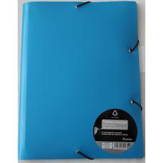 AUCHAN Chemise à élastique 24x32cm polypro recycle avec bloc papier et stylo coloris bleu
