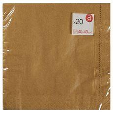 ACTUEL Serviettes en papier 40x40cm or x20 3 plis 20 pièces