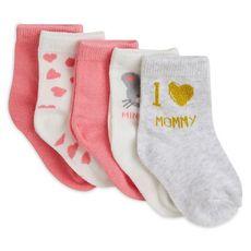 IN EXTENSO Lot de 5 paires de chaussettes souris bébé fille