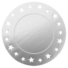 Sous-assiettes argent 34cm motif étoile x4 4 pièces