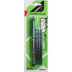 Stylo roller gel effaçable vert + 3 recharges