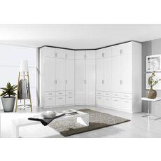 Armoire 4 portes + 8 tiroirs PAK, L181xH197cm  (Portes blanches brillantes)