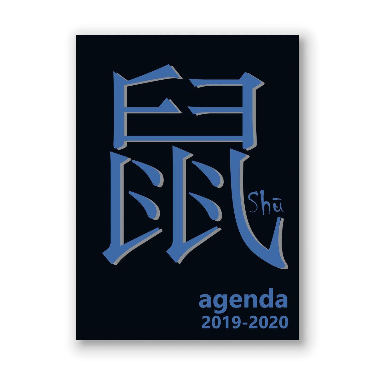 Agenda scolaire journalier 320 pages 119x163cm lycéen signe chinois noir et bleu 2019 2020