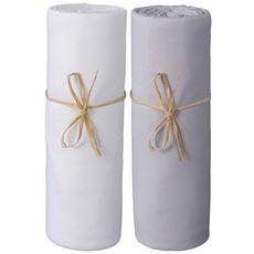 PTIT BASILE Lot x2 draps housse jersey lit berceau cododo, nacelle en coton Bio 50 x 80 cm (Blanc/Gris perle)
