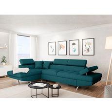 Canapé d'angle gauche convertible 4 à 5 places CHICAGO, tissu bleu canard