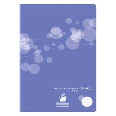 AUCHAN Cahier piqué polypro 21x29,7cm 140 pages grands carreaux Seyes violet motif ronds