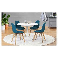 Lot de 4 chaises assise tissu pieds bois massif ORNELLA (Bleu)