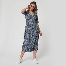 IN EXTENSO Robe longue bleu imprimé fleuri femme (Bleu)
