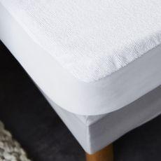 Protège matelas bouclette éponge coton imperméable et absorbant - Forme drap housse QUALITE PLUS (Blanc)