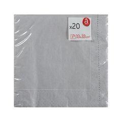 ACTUEL Serviettes en papier 33x33cm argent x20 20 pièces