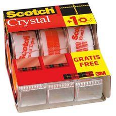 lot de 2 dévidoirs + 1 gratuit ruban adhésif scotch® super transparent 7,5m x 19mm
