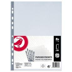 AUCHAN Lot de 50 pochettes plastiques perforées lisses A4