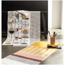TODAY Tapis déco rectangle en polycoton imprimé quadrillage 60x120 cm TERRA ROSA