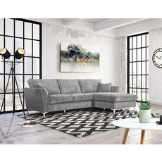 Canapé d'angle droit MALIA 4 places, confort moelleux, tissu velours (gris clair)