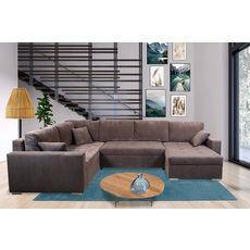 Canapé d'angle convertible panoramique 5 places tissu velours avec coffre MAGNUS