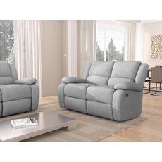 Canapé relax électrique HELENA 2 ou 3 places tissu gris clair