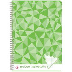 AUCHAN Cahier 21x29,7cm 100 pages petits carreaux 5x5 à spirale vert motif triangles