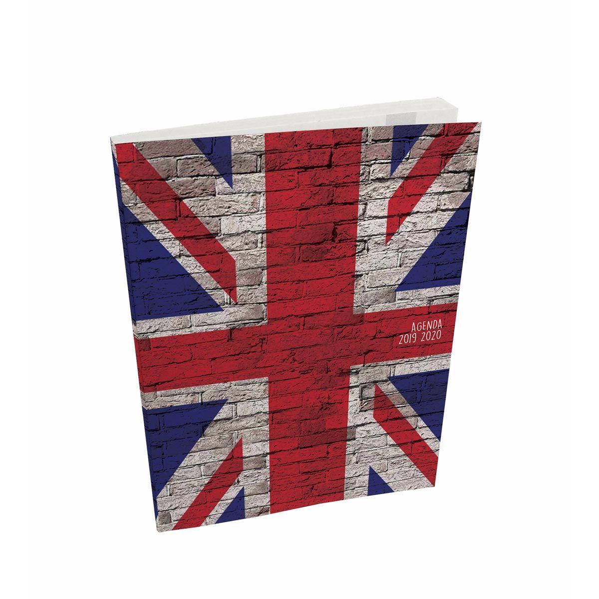 Agenda scolaire semainier 236 pages 16x22cm couverture cartonnée souple drapeau uk 2019 2020