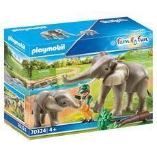 PLAYMOBIL 70324 - Family Fun - Eléphants et soigneur