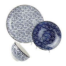 Service vaisselle 18 pièces en porcelaine bleu
