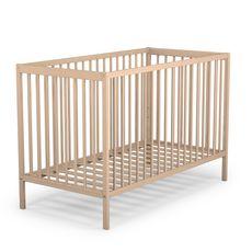 AT4 Lit bébé à barreaux Bois massif 60 x 120 cm DOUCE NUIT Brut