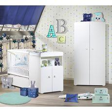BABY PRICE Ensemble Lit bébé combiné 60x120 cm évolutif en 90x190 cm + armoire FLOCON