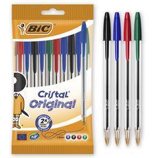 BIC  Lot de 10 stylos bille pointe moyenne bleu/noir/rouge/vert CRISTAL ORIGINAL
