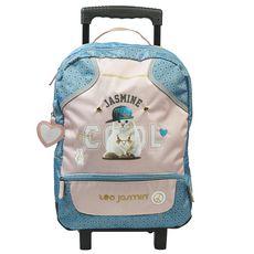 TEO JASMIN Sac à dos à roulettes bleu et rose chat