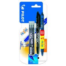 Stylo roller effaçable rechargeable Frixion ball noir + 1 stylo Frixion clicker bleu nuit + 3 recharges noires
