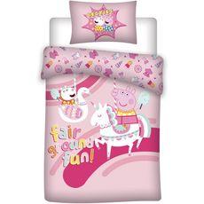 PEPPA PIG Parure housse de couette enfant en coton PEPPA PIG (Rose)