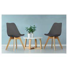 Lot de 2 chaises pieds bois massif LYDIA (Gris foncé)