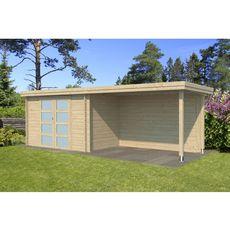 Abri jardin bois APETINA / toit plat avec auvent / 10.29m²