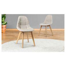 Lot de 2 chaises assise tissu pieds bois massif ORNELLA