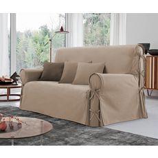 Housse de canapé 2 places à nouettes en coton