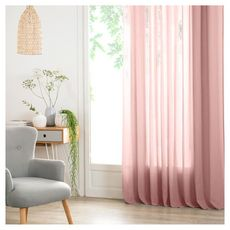 ATMOSPHERA Rideau Voilage uni oeillets métal en polyester 140x240cm ANA (Rose clair)