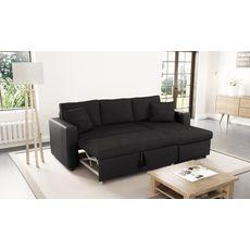 Canapé d'angle 3 places réversible et convertible MATHILDE coloris Gris / Blanc (noir)