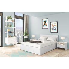 Ensemble matelas 140x190cm + Lit coffre 140x190cm sommier inclus avec tête de lit WILLOW blanc
