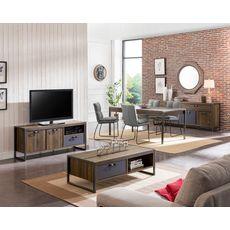 Table de séjour salle à manger style industriel pieds métal L180cm FABRIC (Noyer/gris)