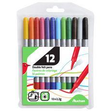 AUCHAN Pochette de 12 feutres de coloriage bi-pointes