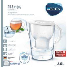 BRITA Carafe filtrante MARELLA XL Blanche avec 1 cartouche Maxtra+