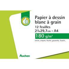 Auchan Pouce  Pochette de papier à dessin blanc à grain 180g 21x29.7cm 26 feuilles