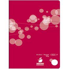 AUCHAN Cahier piqué polypro 24x32cm 192 pages grands carreaux Seyes rouge motif ronds