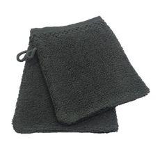 ACTUEL Lot de 2 gants de toilette unis en pur coton qualité Zéro Twist  500 g/m² (Gris foncé)