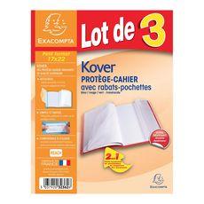 EXACOMPTA Lot de 3 protèges cahier 17x22cm avec rabats translucide bleu, vert et rouge