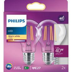 PHILIPS Ampoule LED E27 classique 40W - Blanc chaud