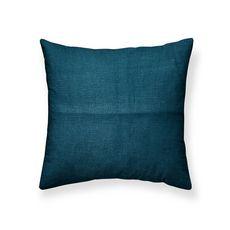 Coussin déco uni déhoussable en Coton KERALA  (Bleu paon)