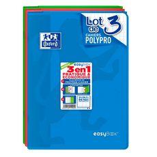 OXFORD Lot de 3 cahiers piqués polypro 21x29,7cm 96 pages grands carreaux Seyes Easybook